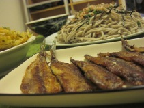 pan-fried sardines and zarusoba.