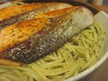 pesto and salmon