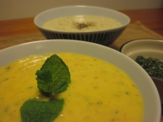 spicy mango sauce, garlic white wine cream sauce, and shiso-pesto.